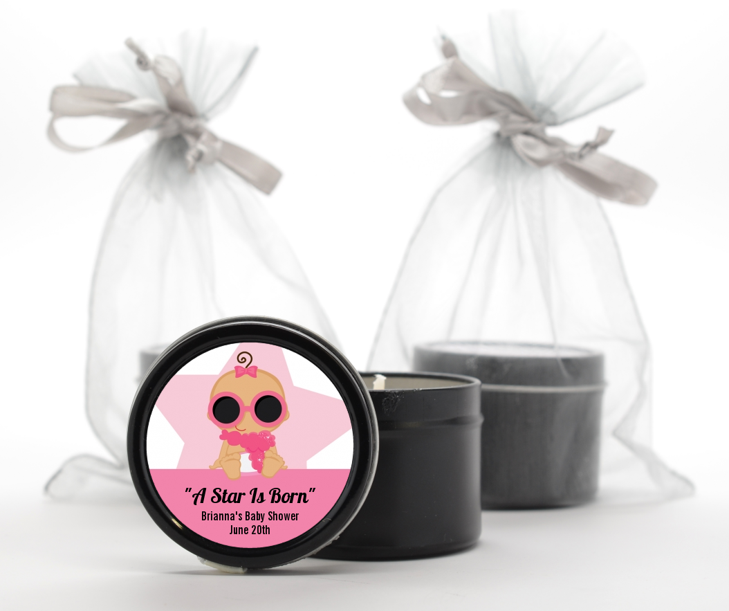 A Star Is Born Hollywood White|Pink - Baby Shower Black Candle Tin Favors Blonde Hair
