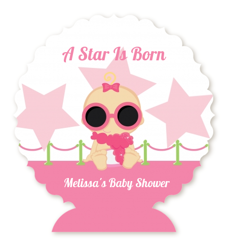 A Star Is Born Hollywood White|Pink - Personalized Baby Shower Centerpiece Stand Blonde Hair