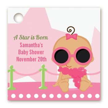 A Star Is Born Hollywood White|Pink - Personalized Baby Shower Card Stock Favor Tags African American