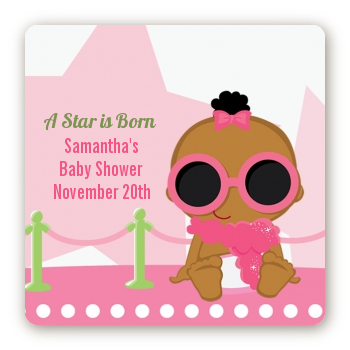 A Star Is Born Hollywood White|Pink - Square Personalized Baby Shower Sticker Labels African American