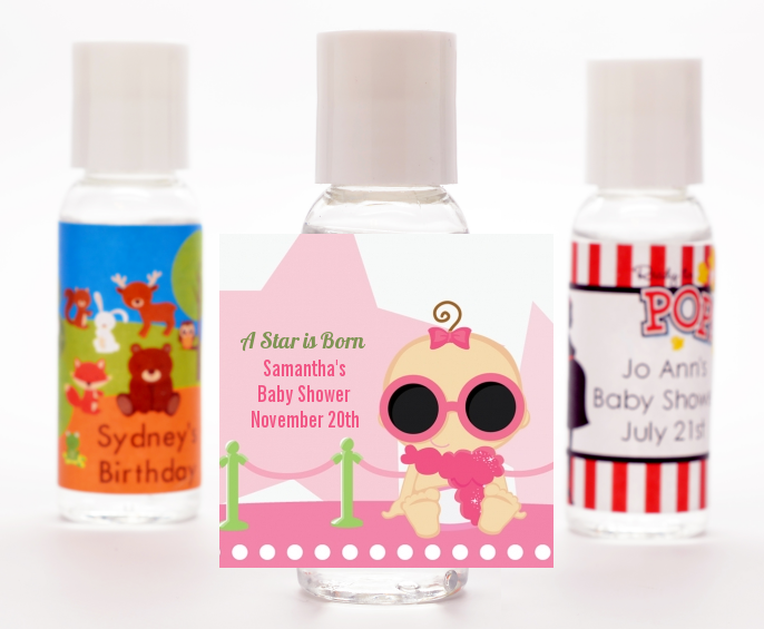 A Star Is Born Hollywood White|Pink - Personalized Baby Shower Hand Sanitizers Favors African American