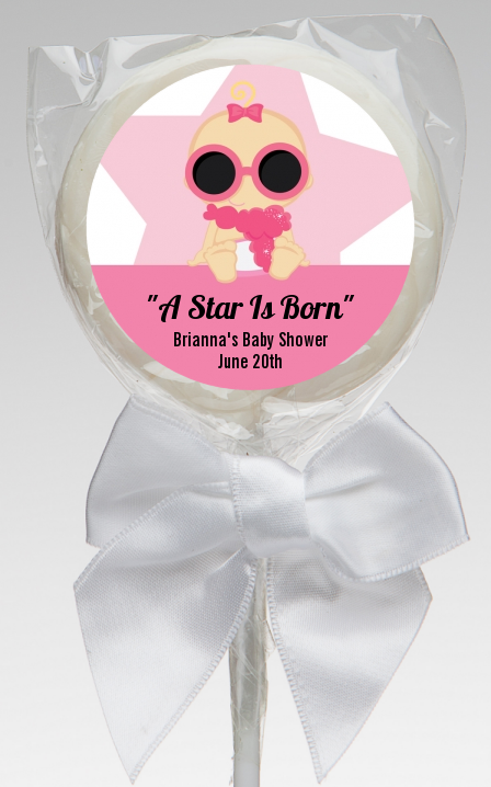 A Star Is Born Hollywood White|Pink - Personalized Baby Shower Lollipop Favors Blonde Hair