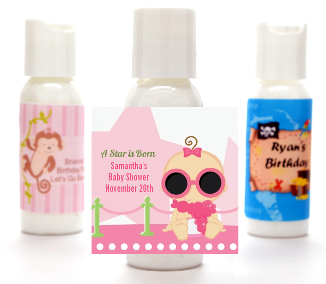 A Star Is Born Hollywood White|Pink - Personalized Baby Shower Lotion Favors African American