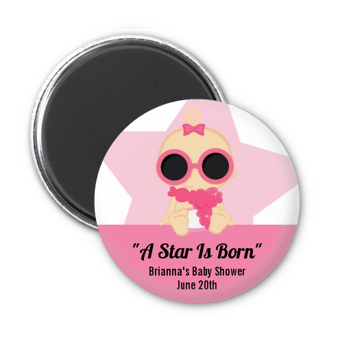 A Star Is Born Hollywood White|Pink - Personalized Baby Shower Magnet Favors Blonde Hair