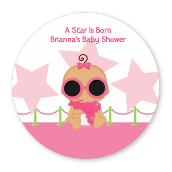 A Star Is Born Hollywood White|Pink - Personalized Baby Shower Table Confetti Caucasian Blonde Hair