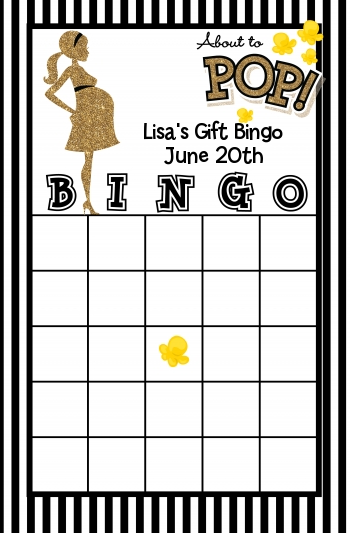 About To Pop Gold Glitter - Baby Shower Gift Bingo Game Card