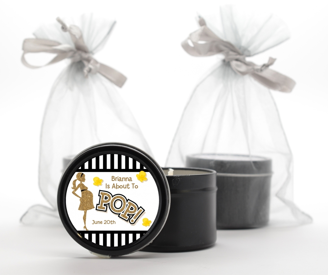 About To Pop Gold Glitter - Baby Shower Black Candle Tin Favors Option 1