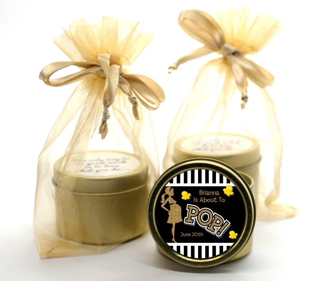 About To Pop Gold Glitter - Baby Shower Gold Tin Candle Favors Option 1