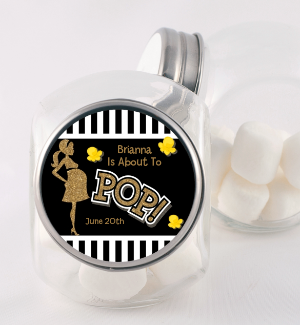 About To Pop Gold Glitter - Personalized Baby Shower Candy Jar Option 1