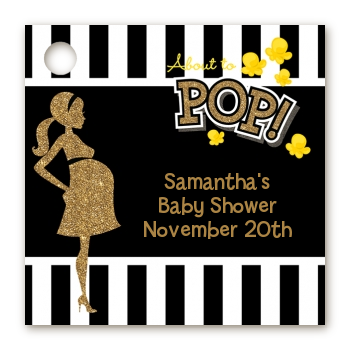 About To Pop Gold Glitter - Personalized Baby Shower Card Stock Favor Tags Option 1