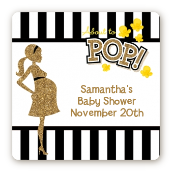 About To Pop Gold Glitter - Square Personalized Baby Shower Sticker Labels Option 1