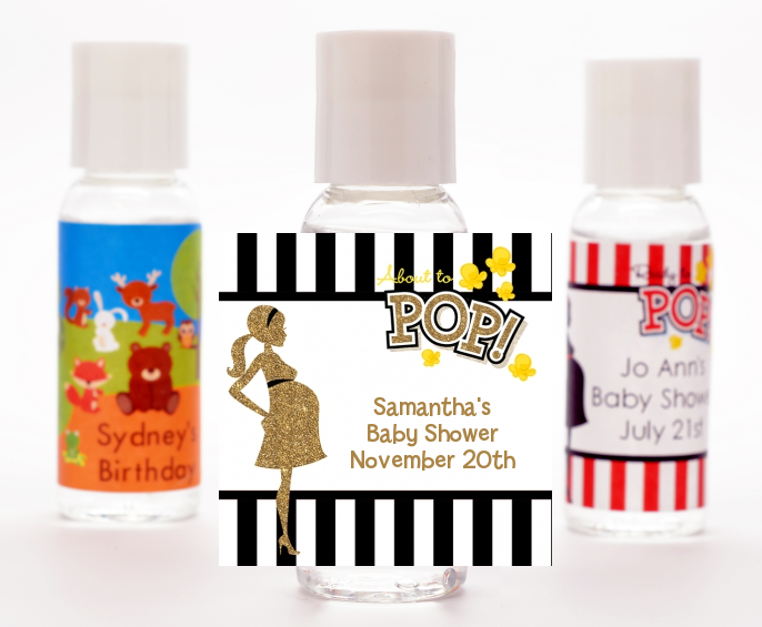 About To Pop Gold Glitter - Personalized Baby Shower Hand Sanitizers Favors Option 1