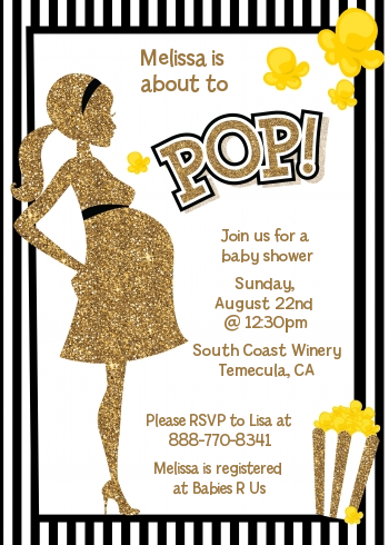 About To Pop Gold Glitter - Baby Shower Invitations Option 1