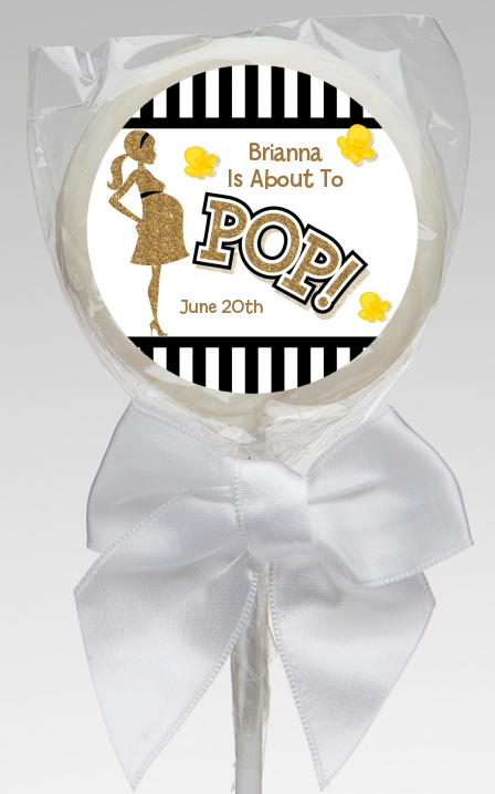 About To Pop Gold Glitter - Personalized Baby Shower Lollipop Favors Option 1
