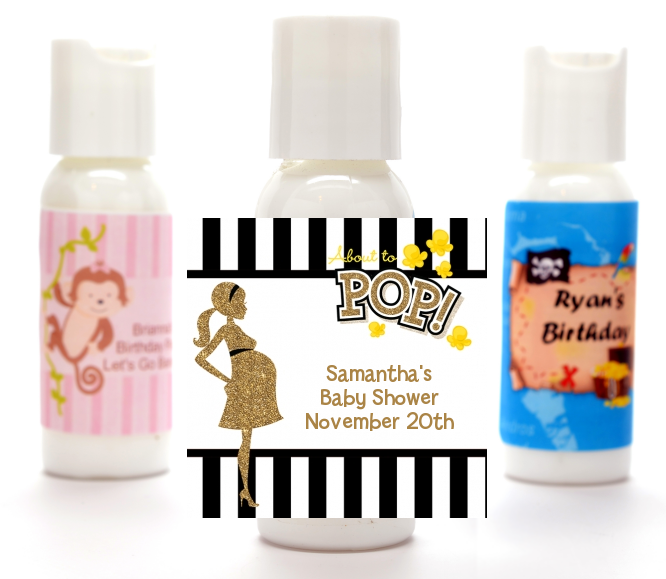 About To Pop Gold Glitter - Personalized Baby Shower Lotion Favors Option 1