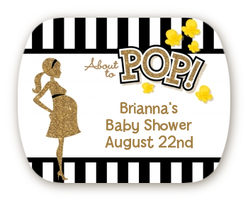 About To Pop Gold Glitter - Personalized Baby Shower Rounded Corner Stickers Option 1