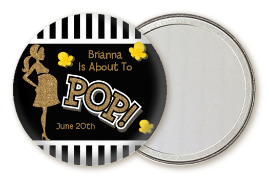 About To Pop Gold Glitter - Personalized Baby Shower Pocket Mirror Favors Option 1