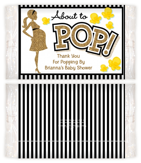 About To Pop Gold Glitter - Personalized Popcorn Wrapper Baby Shower Favors Option 1