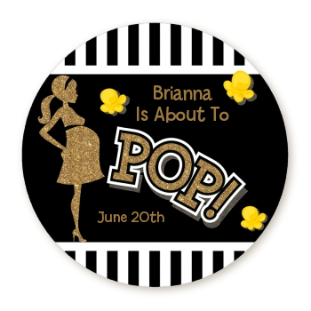 About To Pop Gold Glitter - Round Personalized Baby Shower Sticker Labels Option 1