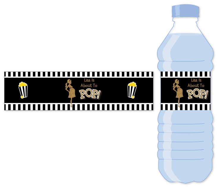 About To Pop Gold Glitter - Personalized Baby Shower Water Bottle Labels Option 1