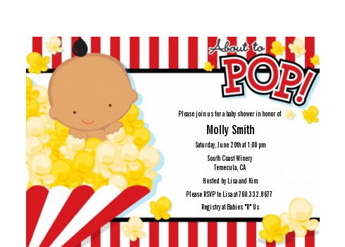 About To Pop - Baby Shower Petite Invitations African American