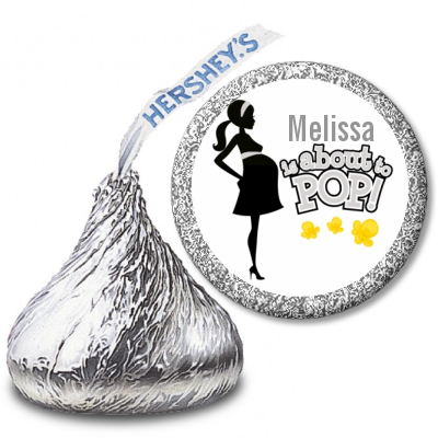 About To Pop Mommy Grey - Hershey Kiss Baby Shower Sticker Labels