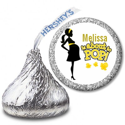 About to Pop Mommy Yellow - Hershey Kiss Baby Shower Sticker Labels