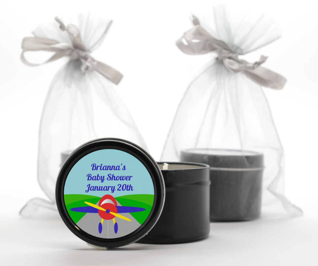 Custom Birthday Party Black Candle Tin Favors