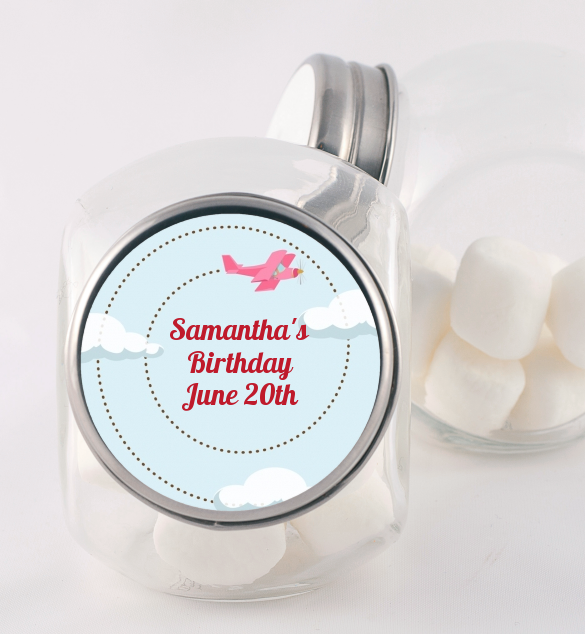 Airplane in the Clouds - Personalized Baby Shower Candy Jar blue / orange