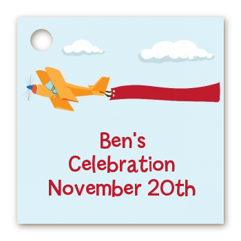 Airplane in the Clouds - Personalized Birthday Party Card Stock Favor Tags