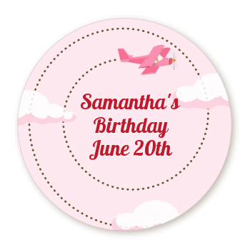 Airplane in the Clouds - Round Personalized Birthday Party Sticker Labels blue / orange