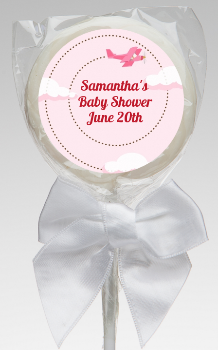 Airplane in the Clouds - Personalized Baby Shower Lollipop Favors blue / orange