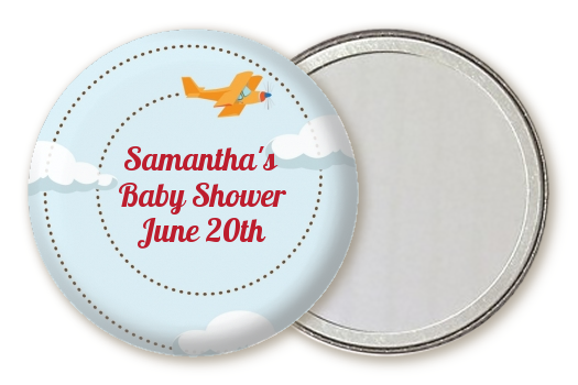 Airplane in the Clouds - Personalized Baby Shower Pocket Mirror Favors blue / orange