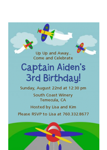 Airplane - Birthday Party Petite Invitations
