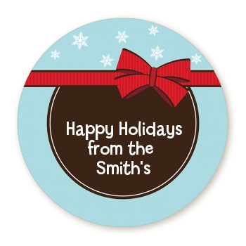 All Wrapped Up Gifts - Round Personalized Christmas Sticker Labels