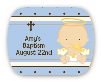 Angel Baby Boy Caucasian - Personalized Baptism / Christening Rounded Corner Stickers