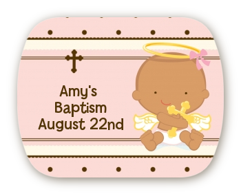 Angel Baby Girl Hispanic - Personalized Baptism / Christening Rounded Corner Stickers