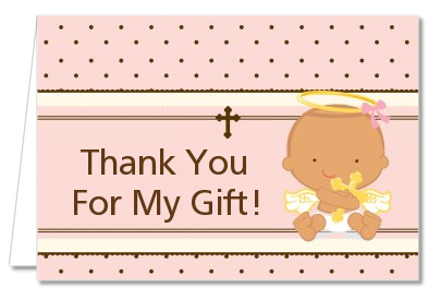 Baptism Christening Thank You Cards Angel Baby Girl Hispanic