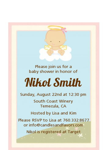 Angel in the Cloud Girl - Baby Shower Petite Invitations