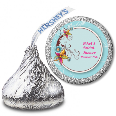 Aqua & Brown Floral - Hershey Kiss Birthday Party Sticker Labels