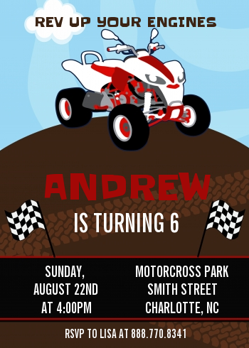 ATV 4 Wheeler Quad Birthday Party Invitations