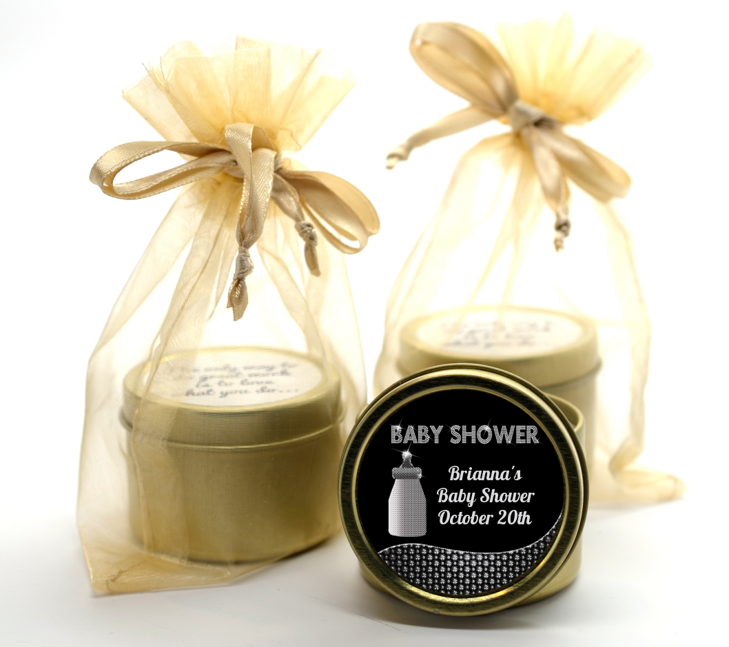 Baby Bling Gold Tin Candle Favors | Candles & Favors