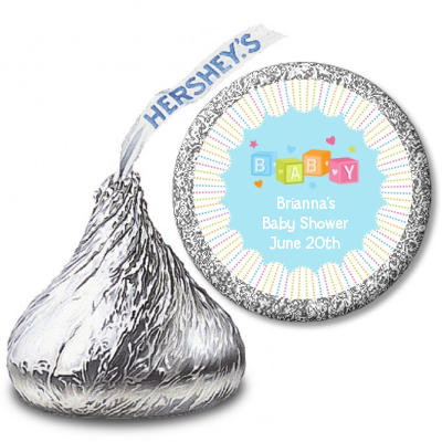 Baby Blocks Blue - Hershey Kiss Baby Shower Sticker Labels