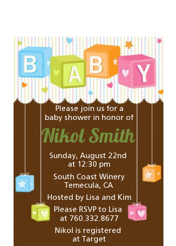 Baby Blocks - Baby Shower Petite Invitations Brown