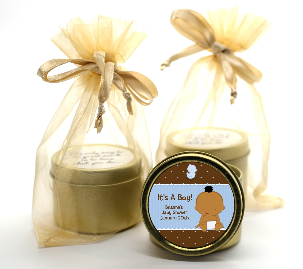 Baby Boy African American Gold Tin Candle Favors Candles Favors