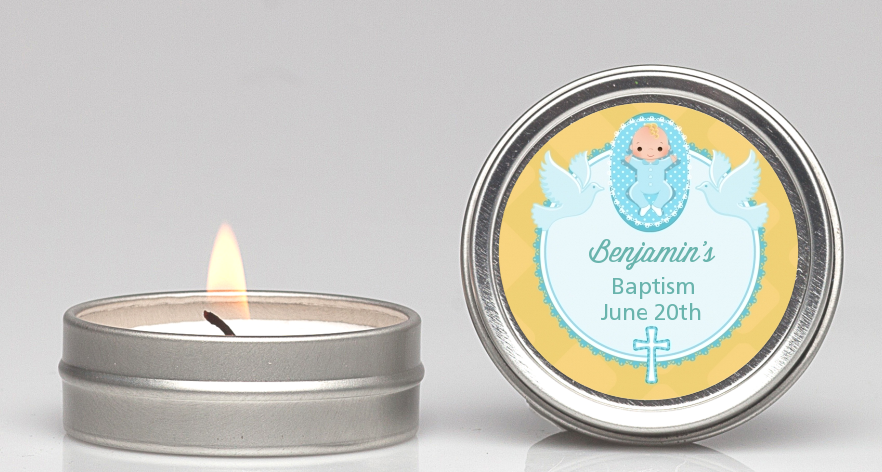 Baby Boy - Baptism / Christening Candle Favors Option 1