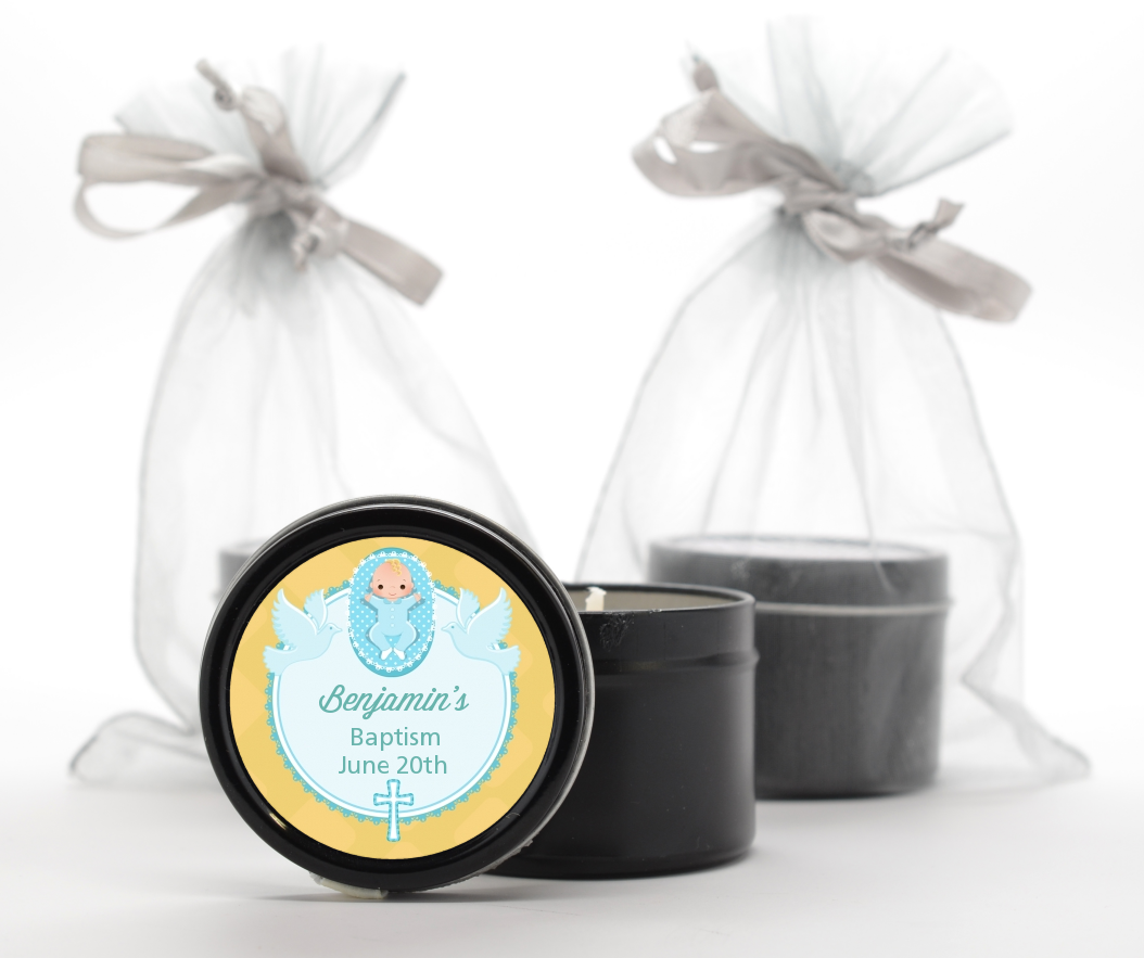 Baby Boy - Baptism / Christening Black Candle Tin Favors Option 1