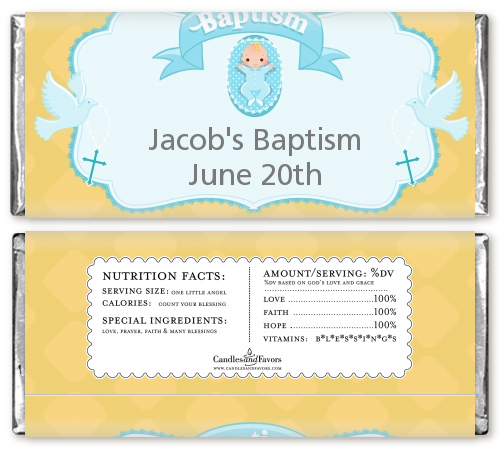 Baby Boy - Personalized Baptism / Christening Candy Bar Wrappers Option 1