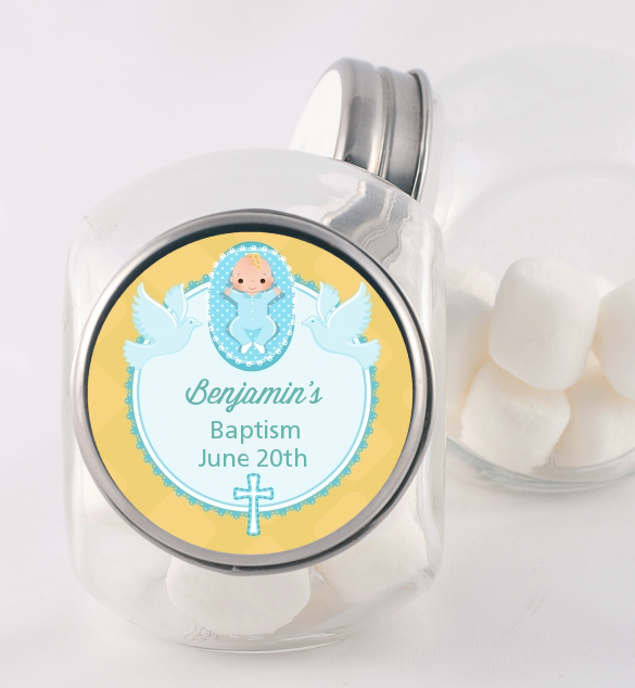 Baby Boy - Personalized Baptism / Christening Candy Jar Option 1