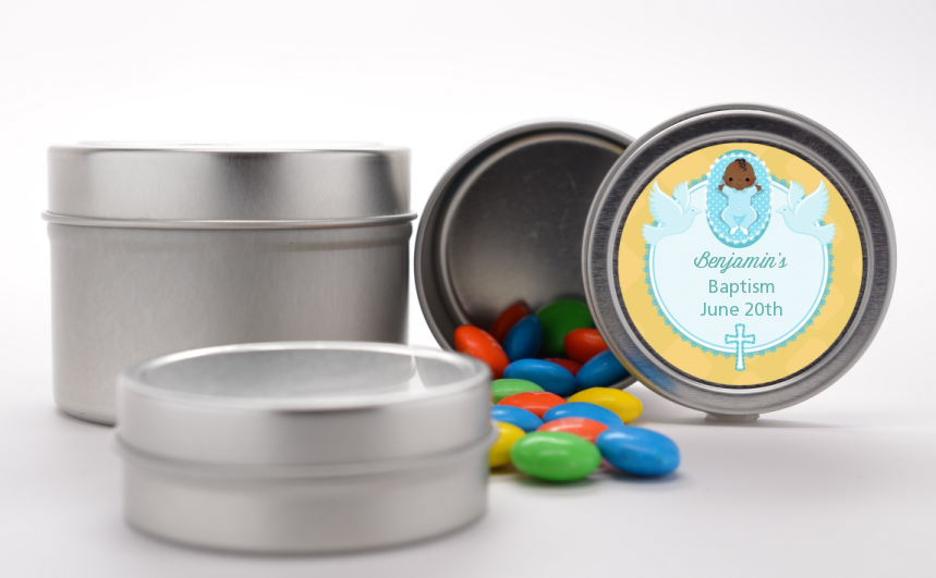 Baby Boy - Custom Baptism / Christening Favor Tins Option 1